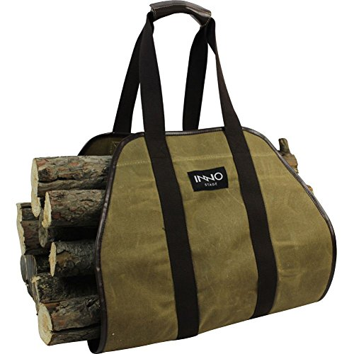 INNO STAGE Firewood Log Carrier Tote Bag, 40X19 Endless Hay Hauling of Fireplace Wood Stove Accessories for Outdoor Camping