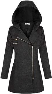 Womens with Hooded Lapel Diagonal Zipper Casual Long Sleeve Jacket Coat Outwear Tops Outwear