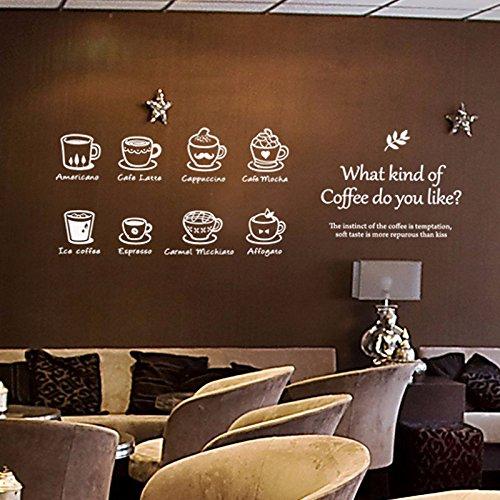 HCCY Die Art der Kaffee Kaffee Tasse Wand eis American Samoa Karte Café Latte Aufkleber Western Restaurant, Coffee Shop Fenster Glas Tür Aufkleber 85 * 90 cm, weiss