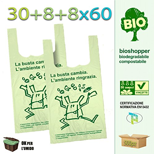 Palucart scatolo da 500 shopper biodegradabili compostabili a norma 2018 (30+9+9x60)