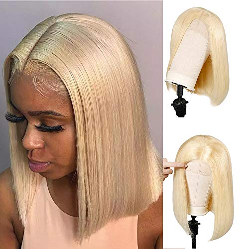 Blonde Lace Front Human Hair Wigs Middle Part 12