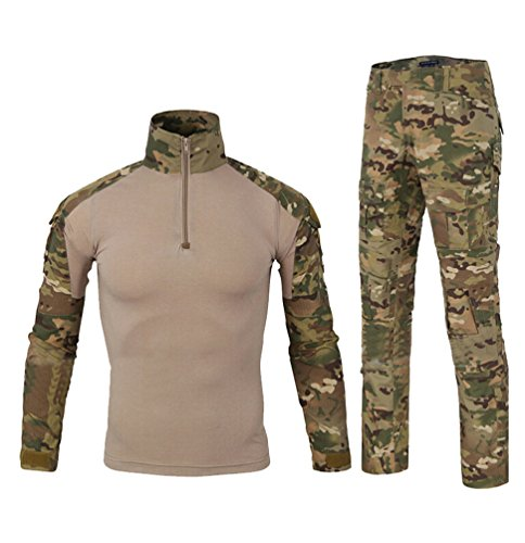 YuanDian Uomo Tattico Esercito Mimetici Uniforme Set Tuta Maniche Lunghe Caccia Camicie Magliette + Combat Pantaloni 2 Pezzi Escursionismo Campeggio Allaperto MC Camuffamento S