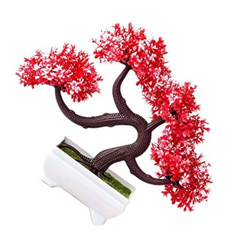 Lorsoul Las Plantas Artificiales Bonsai pequeño árbol Plantas de macetas Home Hotel Jardín Decoración Falsos Adornos de Flores en Maceta
