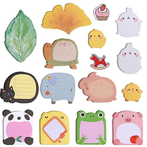 Fandamei 12 almohadillas Super Mini Sticky Notes- Cute animales y hojas forma extraíble autoadhesivas notas, 16 diferentes patrones para bolsas de fiesta relleno Pupils niños regalos