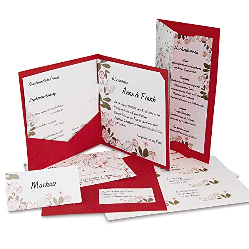 Hochzeitskarten im Set 'Florali' - DIY - 15 Einladungen, Menükarten, Antwortkarten und Online-Druckvorgen zum einfachen Bedrucken