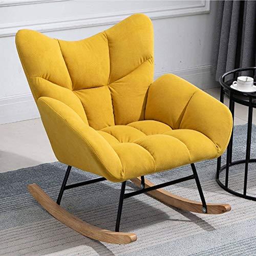 HUANXA Balkon Relax Schaukelstuhl, Modern Lounge-Sessel Entspannungsstuhl Mit Gepolstert Single Fernsehsessel-Gelbe Baumwolle