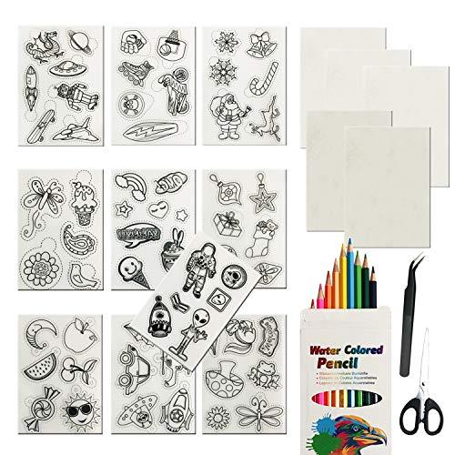 Woohome Kit de Papel Termoencogible 49 Pz, 15 Pz Papel Termorretráctil Hojas de Arte de Plástico con Lápices de Colores, Cadena de Bolas y Pinzas para La Oreja y Pinzas para Artesanía Creativa