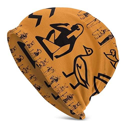 U Shape Altes Ägypten Clipart OrangeUnisex Frauen Männer Slouchy Beanie Hat Übergroße Baggy Skull Cap Stretchy Strickmütze