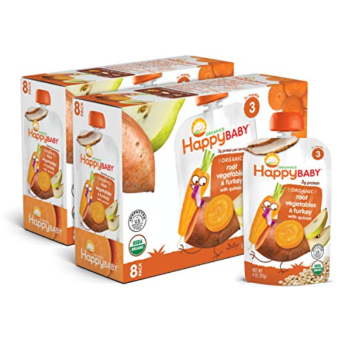 Happy Baby Organic Stage 3 Baby Food, Hearty Meals, Root Vegetables & Turkey with Quinoa, 4 Ounce (Pack of 16)