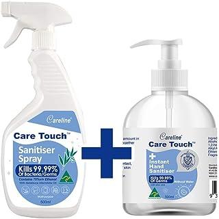 Care Touch Value Pack 1 x 500ml Sanitiser Spray, 1 x 500ml Hand Sanitiser