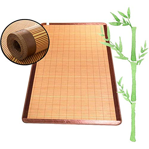 GUORRUI Natural Estera De Dormir Verano Bambú Cama Doble Individual Refrescante Sin Rebabas Doble Cara Plegable Litera, 23 Tallas (Color : A, Size : 135x190cm)