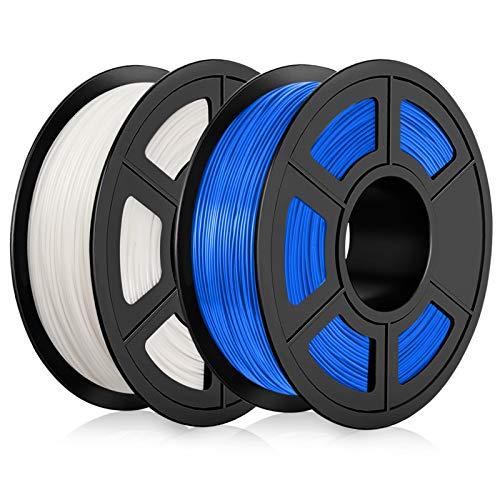 Filamento PLA 1,75mm, Filamento PLA Stampanti 3D 2KG, Upgraded PLA Bianco+Blu 2KG Spool