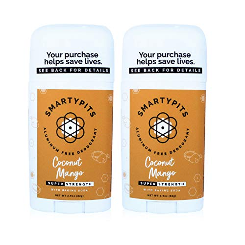 SmartyPits -2 Pack Natural/Aluminum-Free Deodorant (with baking soda) Paraben Free, Phthalate Free, PROPYLENE GLYCOL FREE, Not Tested on Animals | 2.9oz (Coconut Mango)