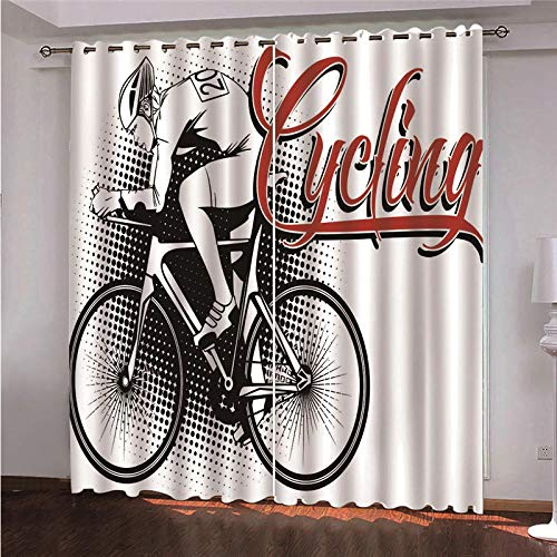 CHNXXL Gordijn, ondoorzichtige ogen, set van 2 fiets, lichtgewicht, zacht polyester, voor woonkamer, slaapkamer, kinderkamer