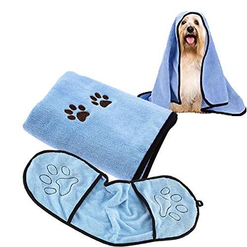 Jicyor Asciugamano per Cani, 2 PCS Morbido Microfibra Super Assorbenti Asciugamano per Cani Accappatoio per Cani e Gatti di Piccola e Media Taglia Blu
