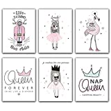 Pink Flamingo Motorcycle Girl Princess Nap Queen Crown Canvas Posters and Prints Nursery Cartoon Wall Art Nordic Painting for Kids Girl Room Décor (Set of 6) - Unframed - 8'x10'