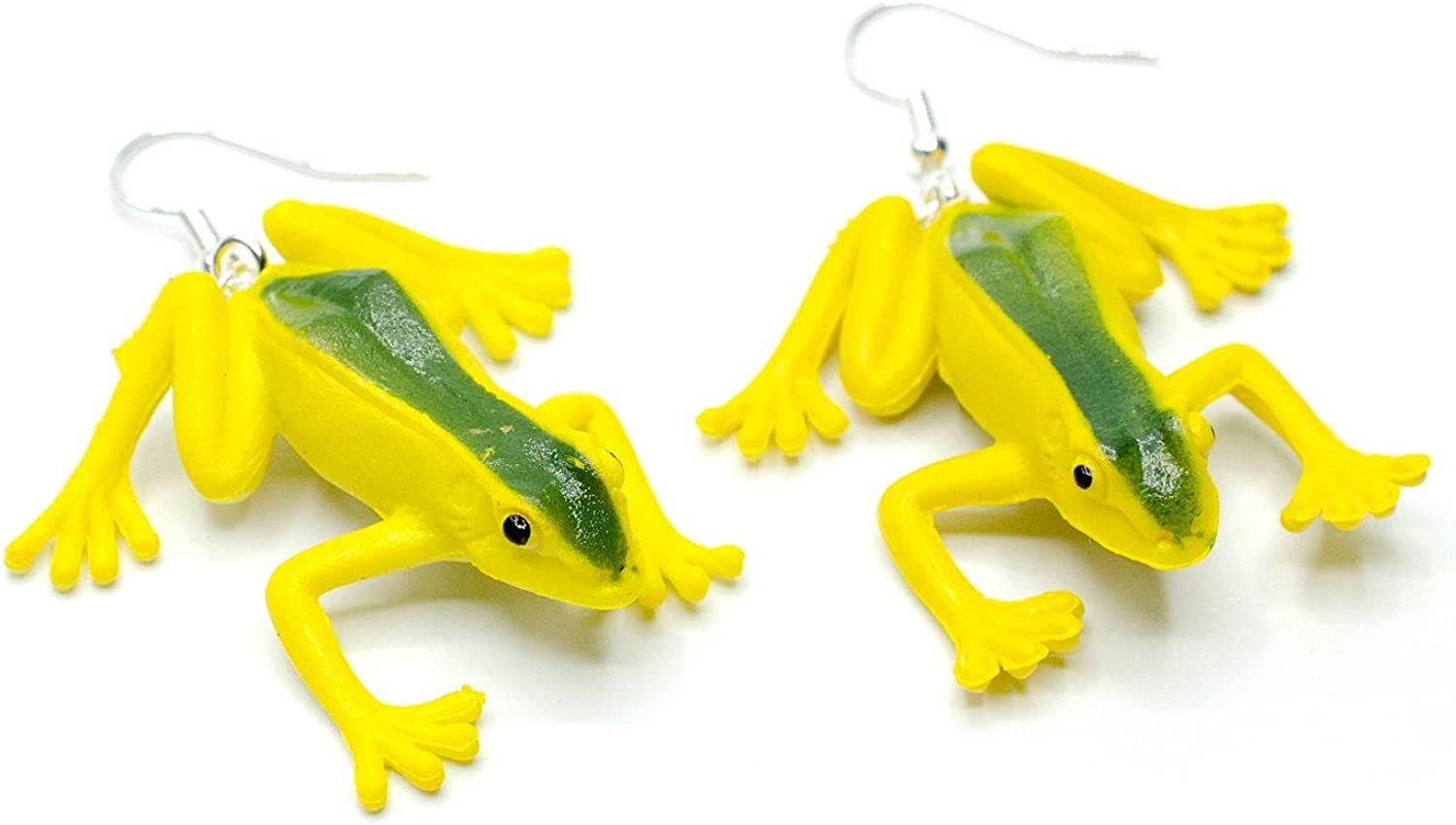 Frog High quality Max 54% OFF Earrings Miniblings Rubber Amazonas Poison Yellow Dart Tree