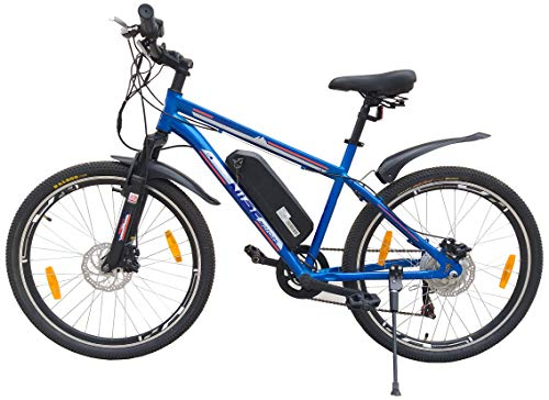 NIBE MOTORS Men's S1 Series Tubular Wheels Electric Bicycle Blue Multi-Gear 36V/250W BLDC HUB Motor with Advance Lithium-ION Battery, Frame- 21.00