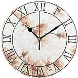 时钟 ヴィンテージのピンク色の桜 壁掛け時計 プレゼント クロック オシャレ 個性 高級感 壁掛け 連続秒針 見やすい 静音時計 シンプル デザイン