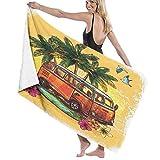 Grande Suave Ligero Toalla de Baño Manta,Hippie Classic Old Bus con Tabla de Surf Freedom Holiday Vida exótica Sketchy Art,Hoja de Baño Toalla de Playa por la Familia Viaje Nadando Deportes,52' x 32'