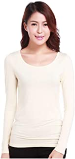 Freely Women Comfy Pullover Modal Pure Long Sleeve Crew Neck T-Shirt