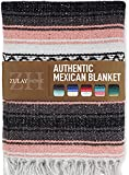 Zulay Home Authentic Mexican Blankets - Hand Woven Yoga Blanket & Outdoor Blanket - Artisanal Boho Blanket & Car Blanket for Beach, Picnic, Camping, or Home Throw Blanket (Gray Pink)