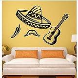 Kyzaa Vinilo Decorativo América Latina Sombrero Chile Guitarra Vinilo Pegatinas Art Mural