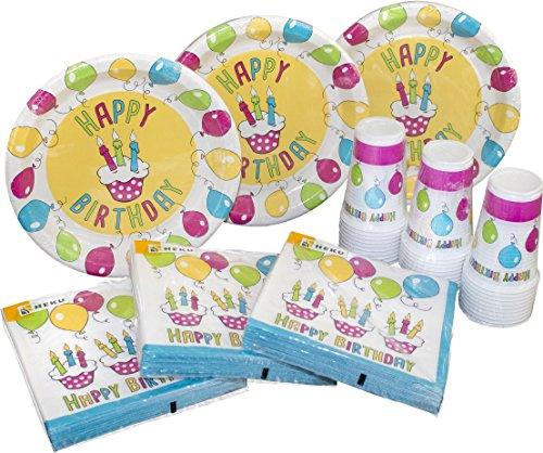 HEKU 30005-13: Party-Einweg-Set mit Tellern, Bechern und Servietten, 120-teilig, Happy Birthday