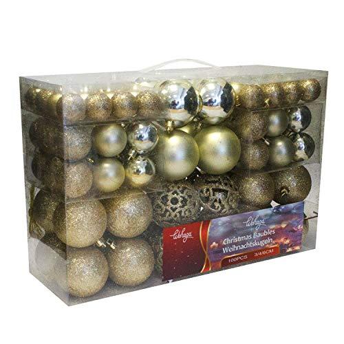Wohaga Weihnachtskugel-Set Christbaumkugeln Baumschmuck Weihnachtsbaumschmuck Baumkugeln, Farbe:Champagner, Größe:100