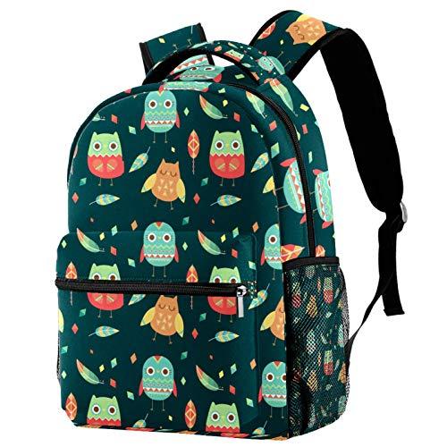 Cute Cartoon Owl Leaves Pattern Backpack School College Bag Bookbag Hiking Travel Rucksack for Women Men