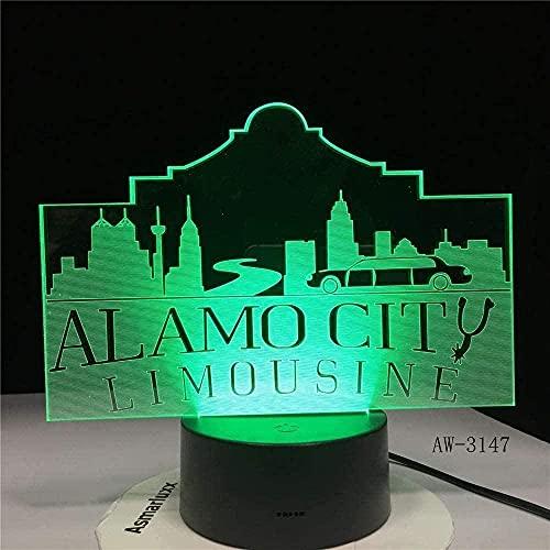 A-Generic 3D Illusion Lámpara LED Noche Luz de Noche Alamo Ciudad USB Decoración de la decoración Atmósfera Niños Bebé Regalo Famoso Building Party Party Lámpara