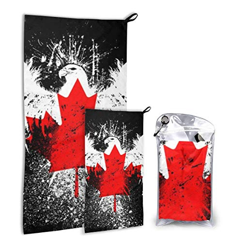 Lawenp Conjunto de Toallas de Viaje con Bandera de Canadá, Paquete de Toallas de Microfibra de Secado rápido para Acampar, Senderismo, mochilero