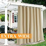 RYB HOME Waterproof Outdoor Curtains - Large Outdoor Patio Curtain Grommet Windproof Summer Heat Block for Sliding Glass Door Corridor Porch Terrace, 100 Wide x 120 in Long, 1 Pc, Beige