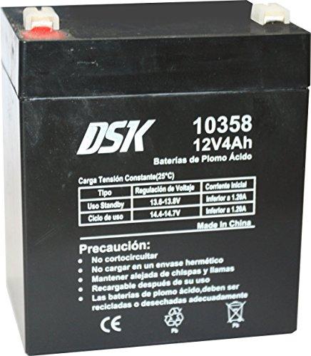 DSK 10358 - Batería Recargable de Plomo Ácido de 12 V y 4 Ah Ideal para Juguetes Eléctricos para Niños como Motos y Scooters Eléctricos, Sistemas de Alarma, Señalización y Luces de Emergencias, Negro