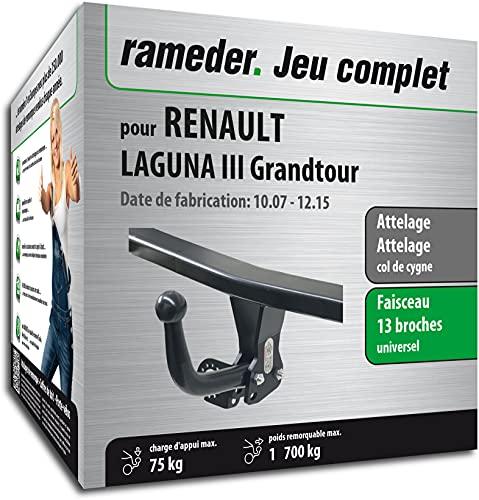 Rameder Pack, attelage démontable avec Outil + Faisceau 13 Broches Compatible avec Renault Laguna III Grandtour (162196-06431-1-FR).