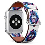 S-Type iWatch Leather Strap Printing Replacement Wristbands Compatible with Apple Watch 4/3/2/1 Sport Series (42mm) - Watercolor Wolf On Background of Forest
