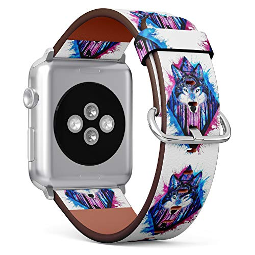 S-Type iWatch Leather Strap Printing Replacement Wristbands Compatible with Apple Watch 4/3/2/1 Sport Series (38mm) - Watercolor Wolf On Background of Forest