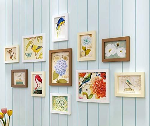 ZPQJH foto muur houten fotolijst combinatie Scandinavische woonkamer slaapkamer moderne minimalistische foto muur achtergrond decoratieve frame behang kleine fotolijst