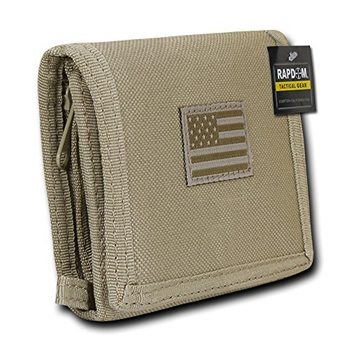 USA US American Flag Tactical Patriotic Military Trifold Wallet Money Holder (Khaki)