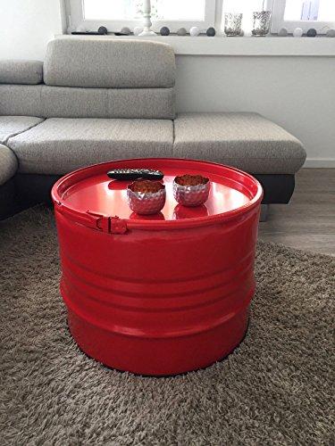 Fassmöbel Beistelltisch Ölfass Tisch Fass Design Möbel Couchtisch mit Spannring Rot# Ø 57cm