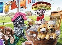 モザイクアート ハンドメイド 犬の入浴動物 刺繍 クロスステッチ クリスタルラインストーン モザイクペイント ホームデコレーション ギフト 30x40cm