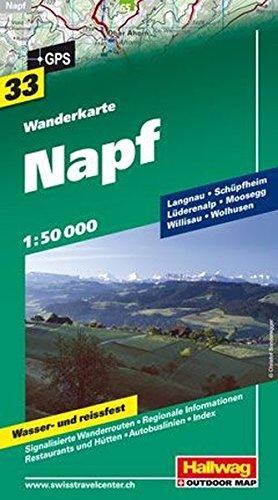 Wanderkarte Napf 1:50 000, Bl. 33, wasser- und reißfest (Hallwag Wanderkarten)