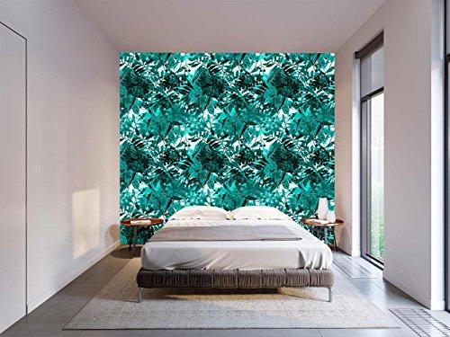 Papel Pintado Pared Floral Vegetacion Azul   Fotomural para paredes   Mural   Papel Pintado   Varias Medidas 200 x 150 cm   Decoración comedores, salones, habitaciones...