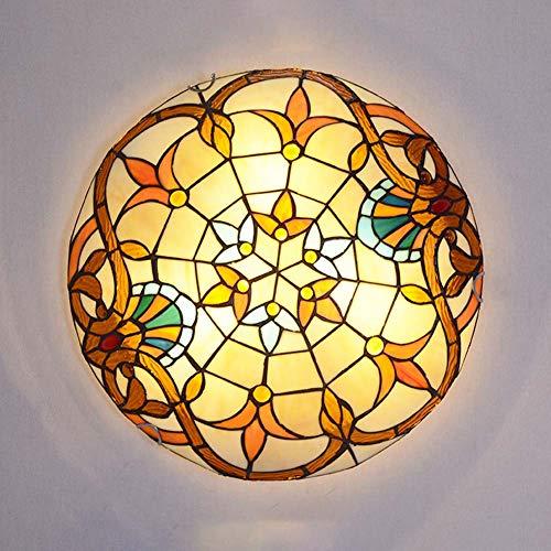 Plafoniera in stile Tiffany, plafoniere in vetro colorato Montaggio a filo, decorazione barocca illuminazione a soffitto con le ombre arrotonda soggiorno per disimpegno camera da letto,30cm