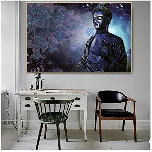 linshel Gelassener Buddha Tibet Indischer Gott Fromm Moral Leinwand Leinwand Poster Drucken POP Wandkunst Bilder für Zuhause Wanddekoration-60x90cm Kein Rahmen
