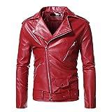 LANSKRLSP Chaqueta de Cuero para Hombre,Rojo,Chaqueta de Invierno Chaquetas Chaqueta Moto Hombre Jacket