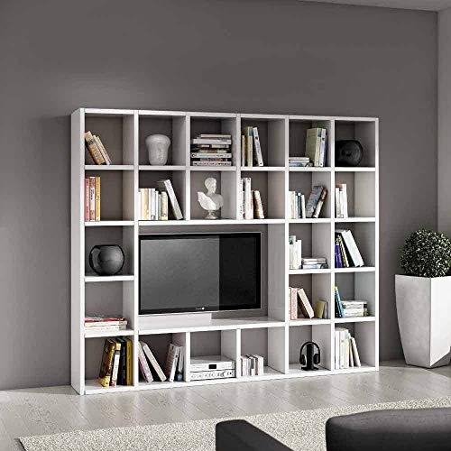 InHouse srls Set Soggiorno Composto da libreria e Porta TV Bianco frassinato, Stile Moderno, in MDF Laminato - Mis. 261 x 30 x 219