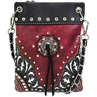 Justin West Western Embroidered Weaved Tooled Concho CrossBody Mini Handbag Phone Messenger Purse (Red Black)
