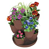 EMSCO Bloomers Stackable Flower Tower Planter – Holds up to 9 Plants – Great Both Indoors and Outdoors – Earth Brown