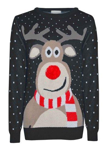 NAZ Fashion Jersey Retro de Navidad, diseño de Reno Rudolf, Nariz de pompón, de Invierno (Pompom Reindeer/Black,...